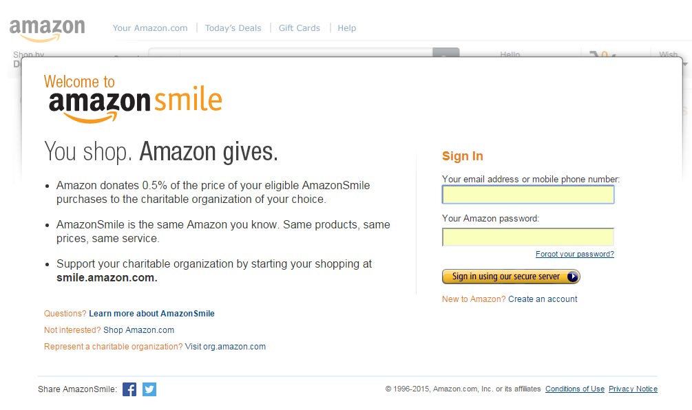 Amazon Smile Form
